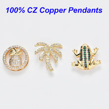 Top Quality Frog Pineapple Micro Pave CZ Pendant Palm Slider Spacer Charms Fit 10mm DIY Stainless Steel Mesh Keeper Bracelets(China)