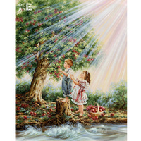 Children And Apple Tree Diamond Embroidery Mosaic Needlework Diy Diamond Painting Home Decor Painting Full