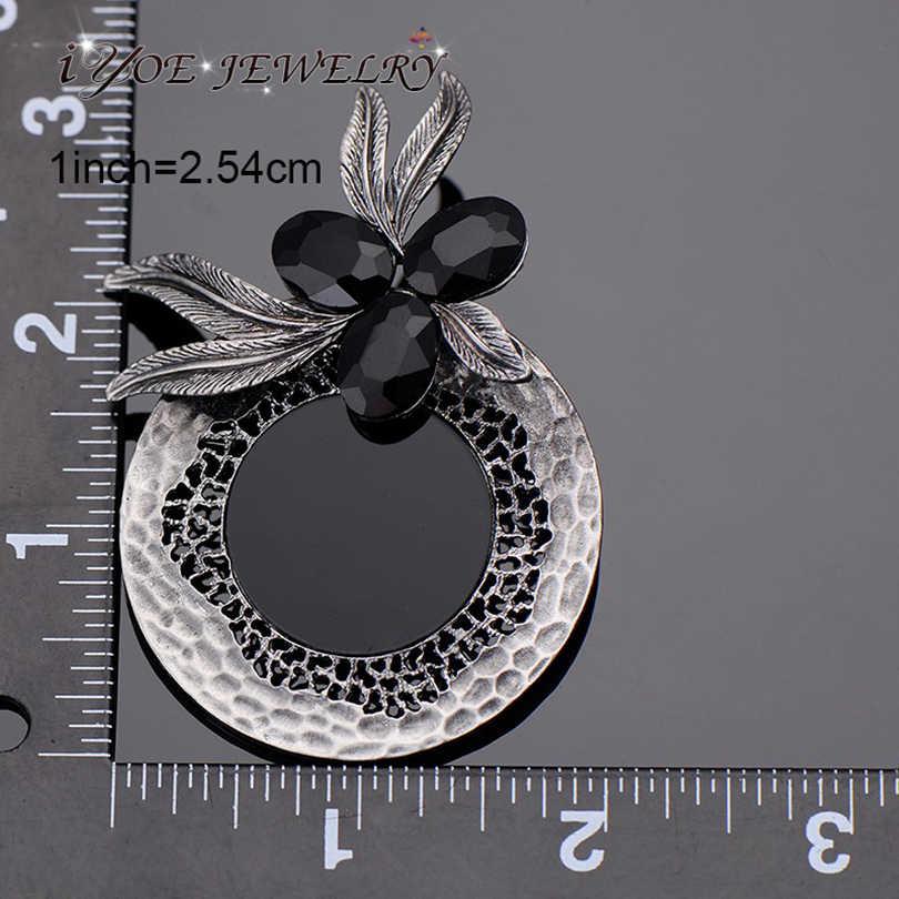 Iyoe Vintage Warna Perak Antik Buket Pins dan Bros untuk Wanita Pesta Besar Resin Hitam Crystal Bros Fashion Perhiasan