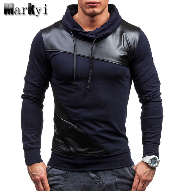 MarKyi Fashion 2016 Leather Patchwork Long Sleeve T shirt Men Branded Good Quality Slim Fit Mens Leather Shirt EU Size 2xl