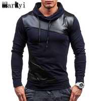 Fashion 2016 New Designer Leather Patched Hood T Shirts Men Good Quality Long Sleeve Hoodies Shirts