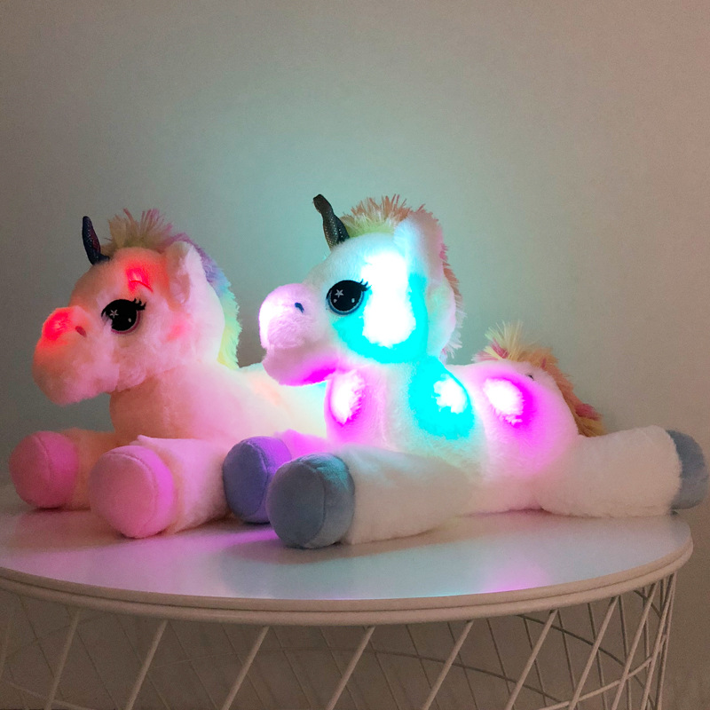 40cm LED Unicorn Plush Toys Light Up Stuffed Animals Unicorn , Cute Luminous Horse Soft Doll Toy For Kid Girl Xmas Birthday Gift