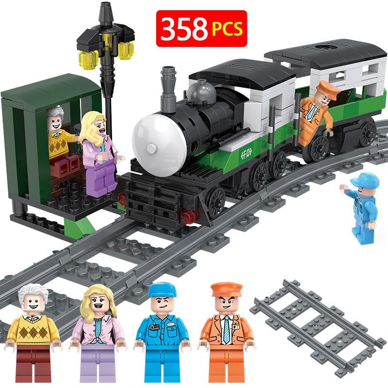 Technic Locomotive Sets Model Legoinglys City Service Passenger Train Station Blocks Brick Toys For Children Christmas Gifts Blocks