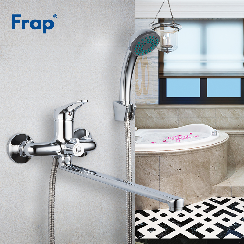 FRAP Bathtub Faucets Bathroom Mixer Stainless Steel Long Nose Outlet Brass Shower Faucet Wall Mounted Bathtub Faucet Griferia
