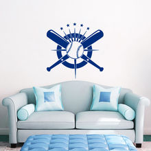 Baseball Wall Decal Crossed Bats Sport Vinyl Sticker Bedroom Decor Stickers Home Living