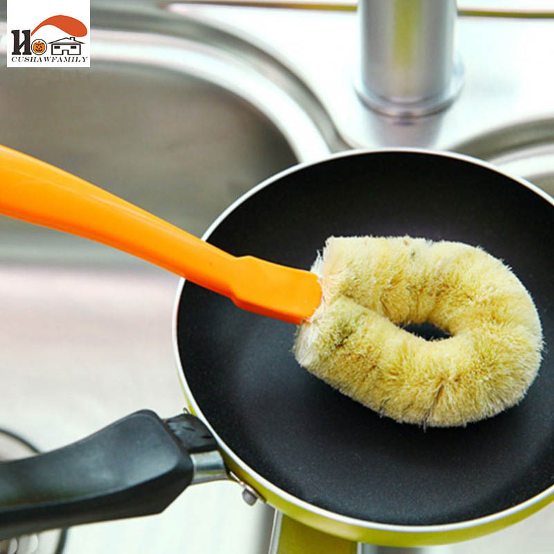 1 pcs CUSHAWFAMILY High Qualit Long handle Natural hemp Cleaning Brushes Without oil pot Brush Kitchen Household Cleaning Tools