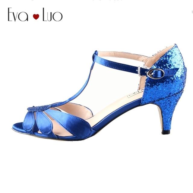 CHS599 Custom Handmade High Quality Low Heel Royal Blue Glitter Dress  Sandals Bridal Wedding Shoes Big