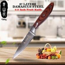 Цин бренд острый дамасский ножи 67 слоев Дамасская сталь пособия по кулинарии инструменты цвет деревянной ручкой Кухня 3,5 дюймов