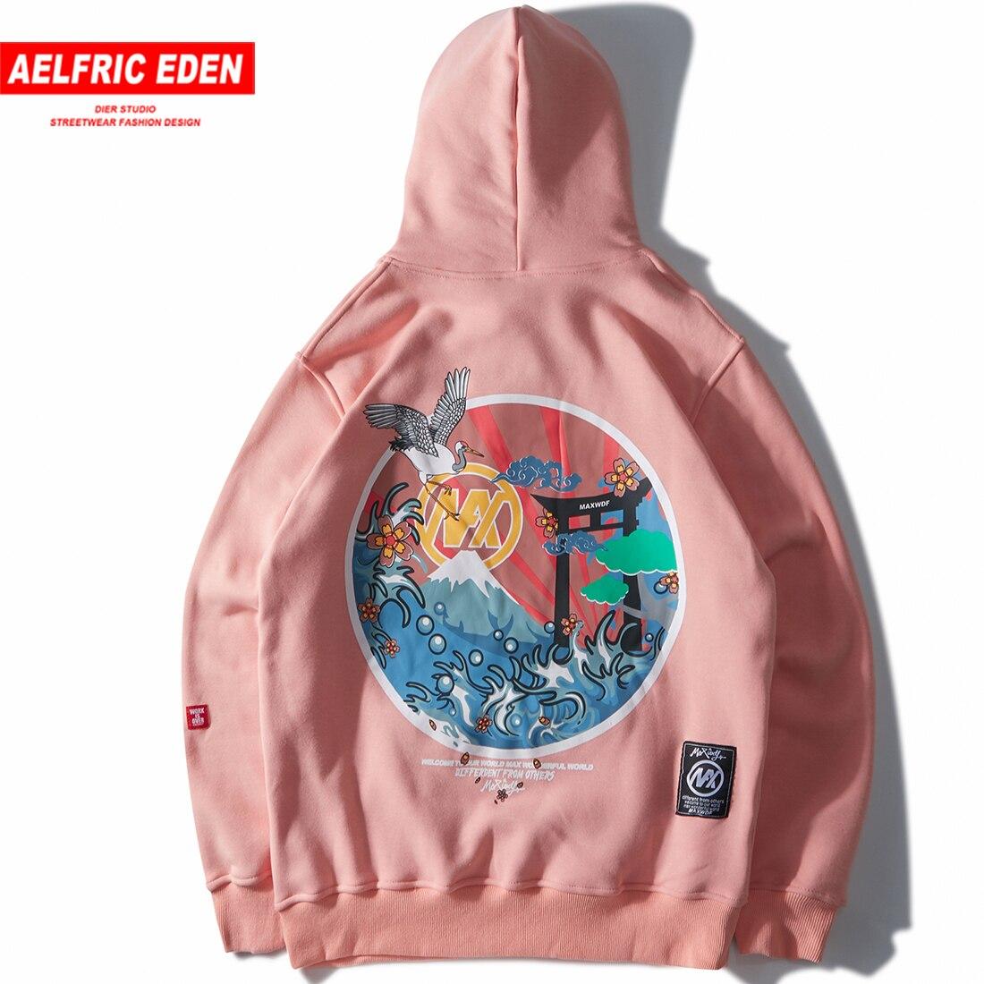 Harajuku Japanese Embroidered Cranes Fleece Velvet Hoodie Streetwear Men 2018 Hip Hop Pullover Sweatshirts Winter Hoodie