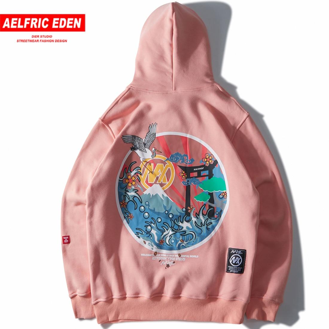 Aelfric Eden Japanischen Bestickt Krane Fleece Hoodies Sweatshirts Streetwear Männer Hip Hop Casual Pullover Winter Hoodie DF06-in Hoodies & Sweatshirts aus Herrenbekleidung bei AliExpress - 11.11_Doppel-11Tag der Singles 1