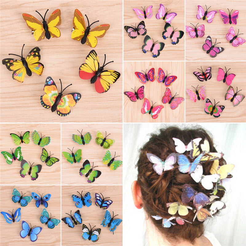5PCS/set Lovely Butterfly Hair Clips For Women Bridal Wedding Photography Costume   Headwear   Accessories