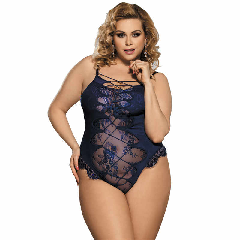 ce9964384c Dark blue special design soft lace sexy-rompers hollow out bandage female  bodysuit big size