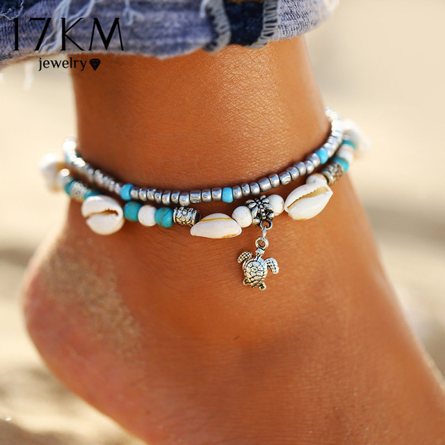 2019 Bohemian Turtle Pendant Anklets For Women Multi Layer Beads Stone Shell Anklet Bracelets Female Ocean Jewelry Wholesale