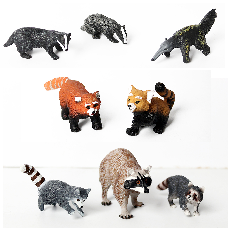 PVC Toy Model-Toys Figurine Raccoon Forest Anteater Realistic Bear Badger Gift Educational