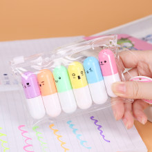 6PCS Cute Mini Smiling Face Pill Highlighter Lovely Cartoon Painting Pen Marking Pens Students Learn Stationery Supplies(China)