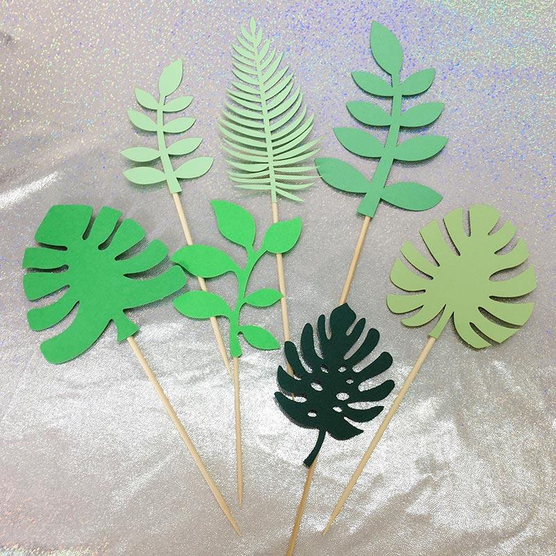 7 шт. инструменты для украшения тортов, тропический стиль, топпер для торта, флаги, товары для свадьбы, дня рождения, Фотокарта