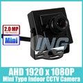 Tipo Mini FHD 1920x1080 P 2.0MP Câmera AHD Interior Câmera de Segurança do Metal CCTV Cam (Frete grátis)