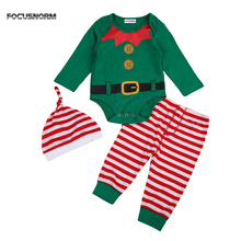 3PCS Christmas Romper Pants Hat Set Newborn Infant Baby Boy Girl Striped Santa Outfits Clothes XMAS