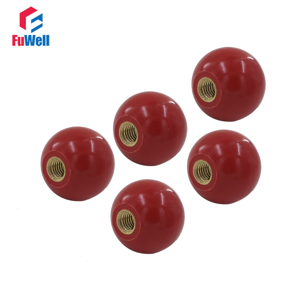 5 Pcs Plastic Ball Shape Joystick Machine Control Handle Black Knob 25mm x 6mm