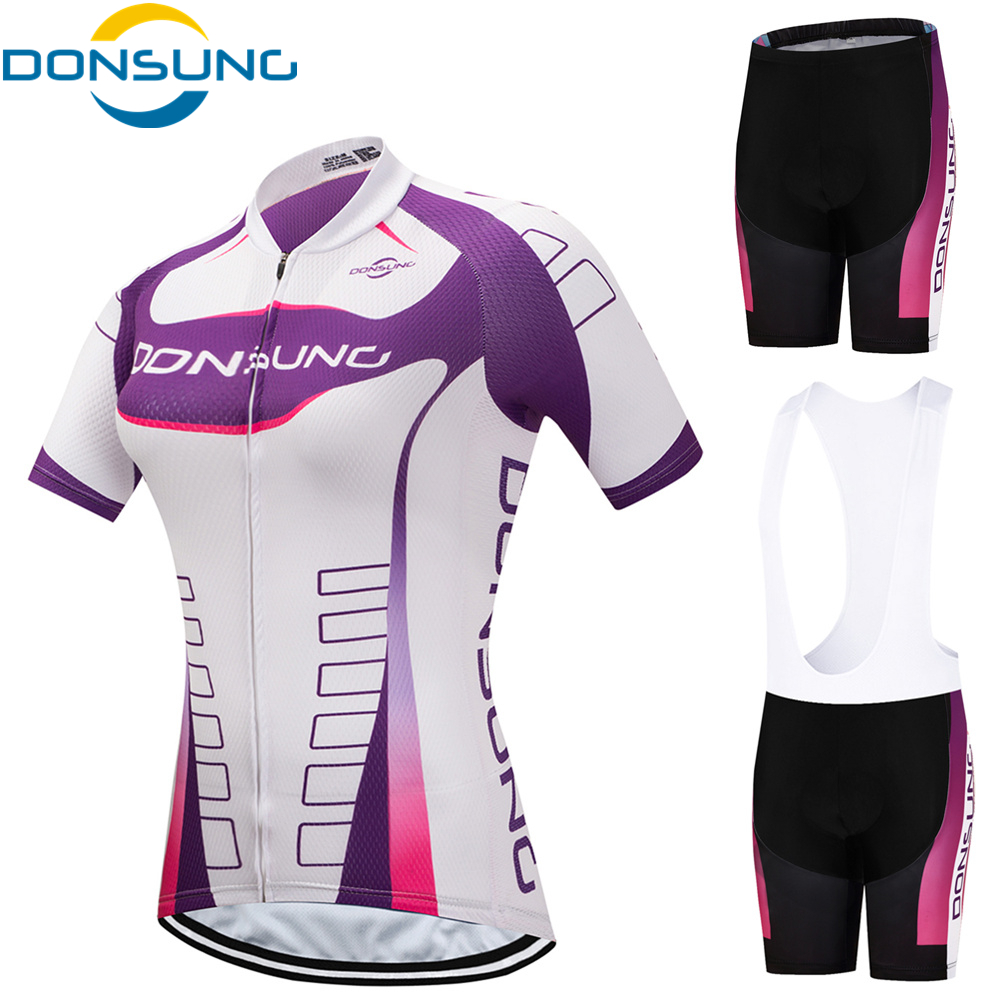 DONSUNG Breathable MTB Bike Cycling Clothing Women Bicycle Clothes Ropa Ciclismo Cycling Wear 100% Polyester Cycling Jersey Set