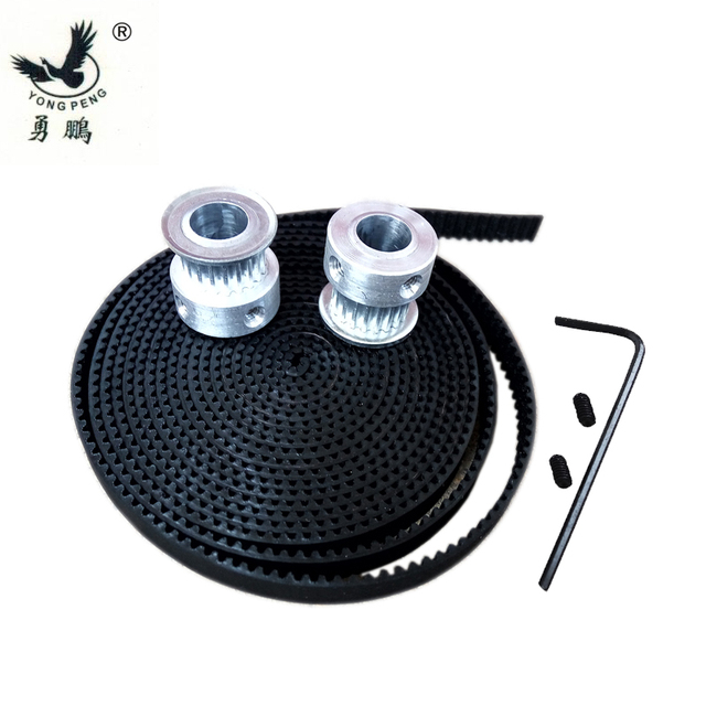2pcs 20 teeth GT2 timing Pulley bore 5mm + 2 Meters GT2 timing Belt width 6mm for 3D printer CNC machine 2GT high quality
