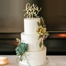 i lava you Wedding Cake Decoration Topper Unique Laser Cut Wood Calligraphy Script Toppers  Modern Elegant