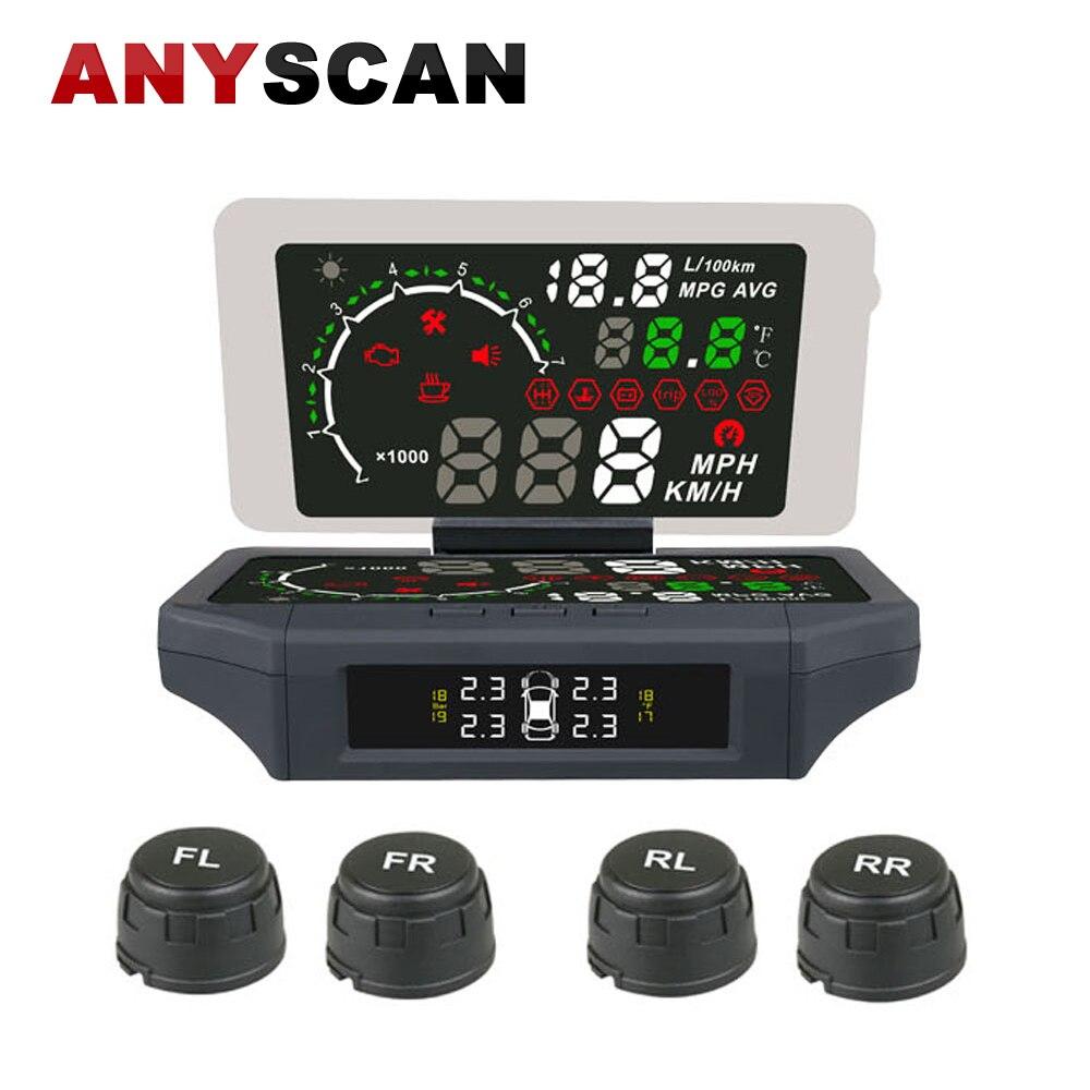 2018 más nuevo coche HUD cabeza arriba pantalla sistema de alarma de coche con función TPMS 4 Sensor externo interfaz OBD sobrevelocidad advertencia