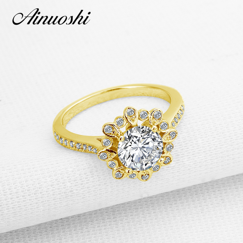 AINUOSHI 10K Solid Yellow Gold Wedding Ring Flower Shape Anelli Donna 7mm Round Cut Simulated Diamond Engagement Rings for Women ainuoshi 10k solid yellow gold wedding ring 1 25 ct solitaire simulated diamond anelli donna brilliant proposal rings for women