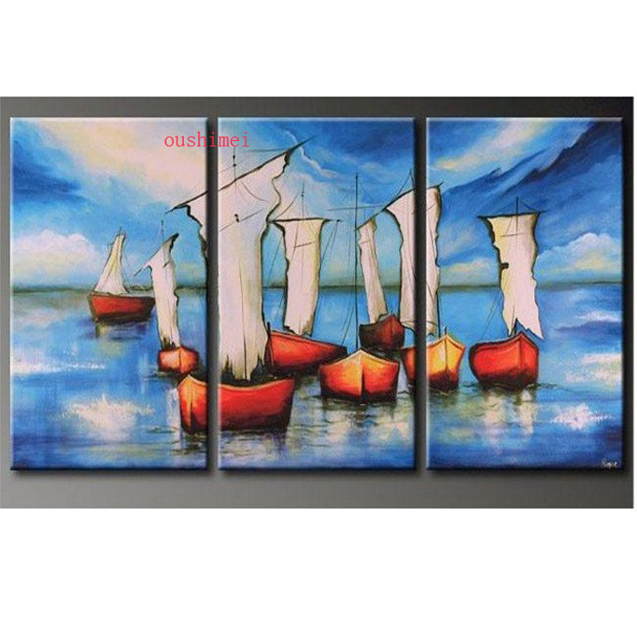 New Hand painted Oil Wall Art Blue Ocean Beach Sailing Home Decoration Landscape No Framed Oil Painting On Canvas 3pcs set Boat in Painting Calligraphy from Home Garden
