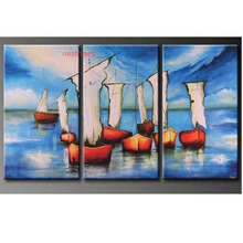 цены New Hand-painted Oil Wall Art Blue Ocean Beach Sailing Home Decoration Landscape No Framed Oil Painting On Canvas 3pcs/set Boat