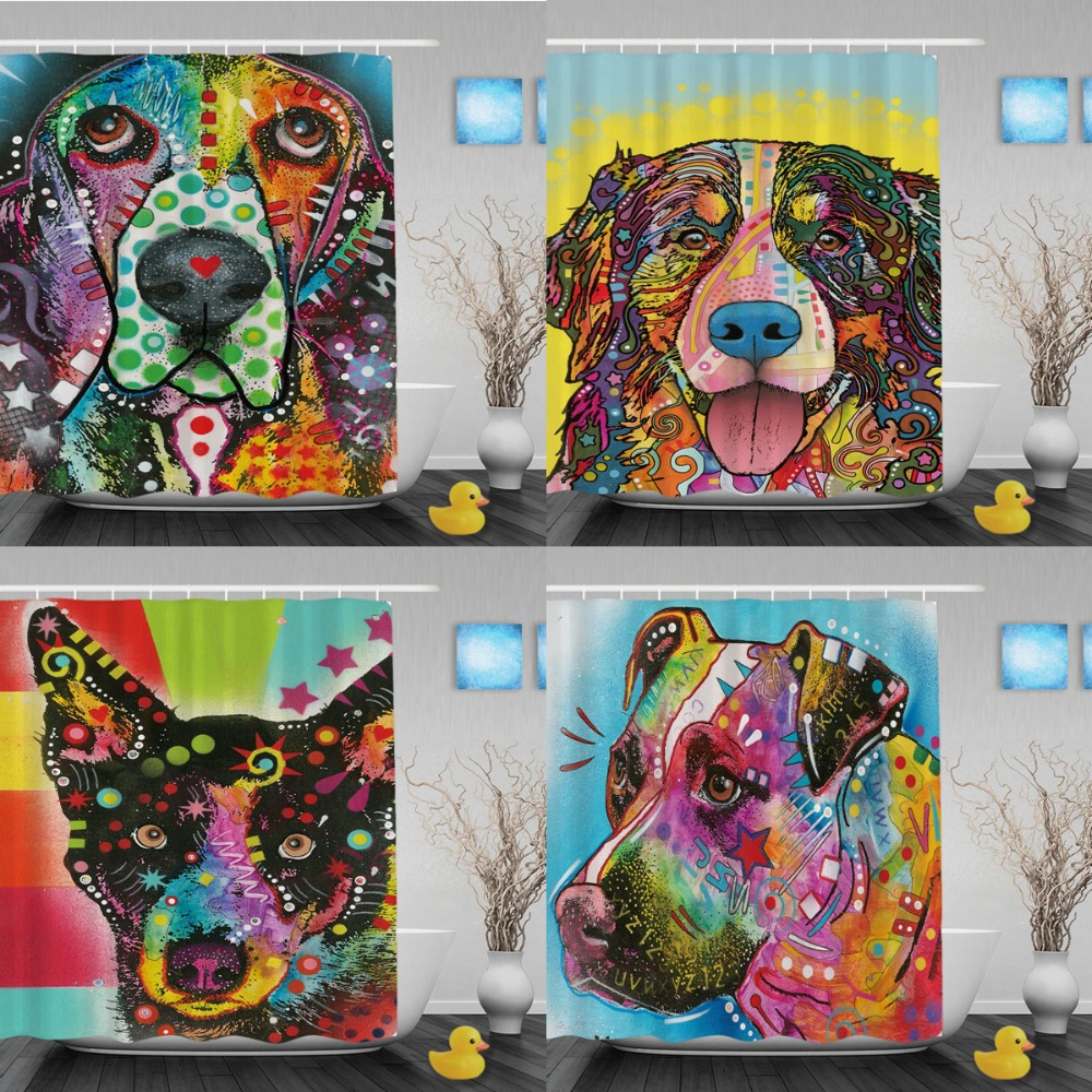 Cute Beagle Shower Curtains Colorful Animal Design Bathroom Custom Art Dog Waterproof Curtain With Hook In From