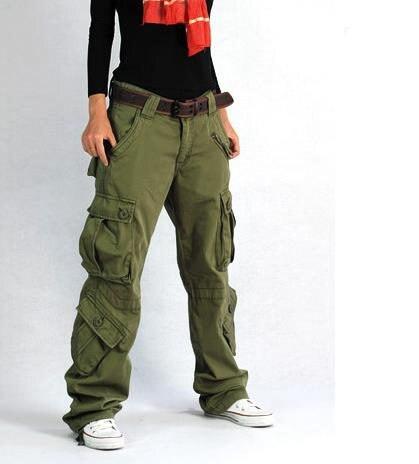 Women Cargo Pants Pocket Cotton Hip Hop Leisure Trousers Loose Baggy Military Army Tactical Pants Wide Leg Joggers Plus Size XXL