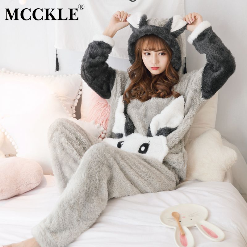 f52412eae4 Detail Feedback Questions about MCCKLE 2018 Winter Women Coral Velvet Pajama  Sets Thick Warm Flannel Cartoon Pyjamas Suit Female Rabbit Cute Sleepwear  ...