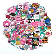 60 Stks/pak Pvc Waterdichte Roze Meisjes Fun Sticker Speelgoed De Bagage Stickers Voor Moto Auto & Koffer Cool Fashion Laptop stickers
