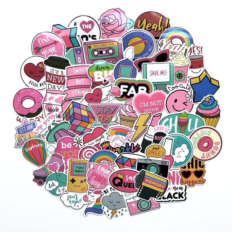 60 pcs/pack PVC Waterproof Pink Girls Fun Sticker Toys The Luggage Stickers For Moto Car & Suitcase Cool Fashion Laptop stickers 50 pcs pack stickers classic fashion style graffiti stickers for moto car