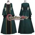 Темно-Зеленый Средневековый Ренессанс Платье Бальное платье Взрослых Готическая Фантазия Стороны Костюм Косплей