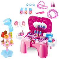 NFSTRIKE Baby Girl Pretend Play Makeup Toy Set Emulational Makeup Storage Stool Kids Early Development Toys for Children Rosy