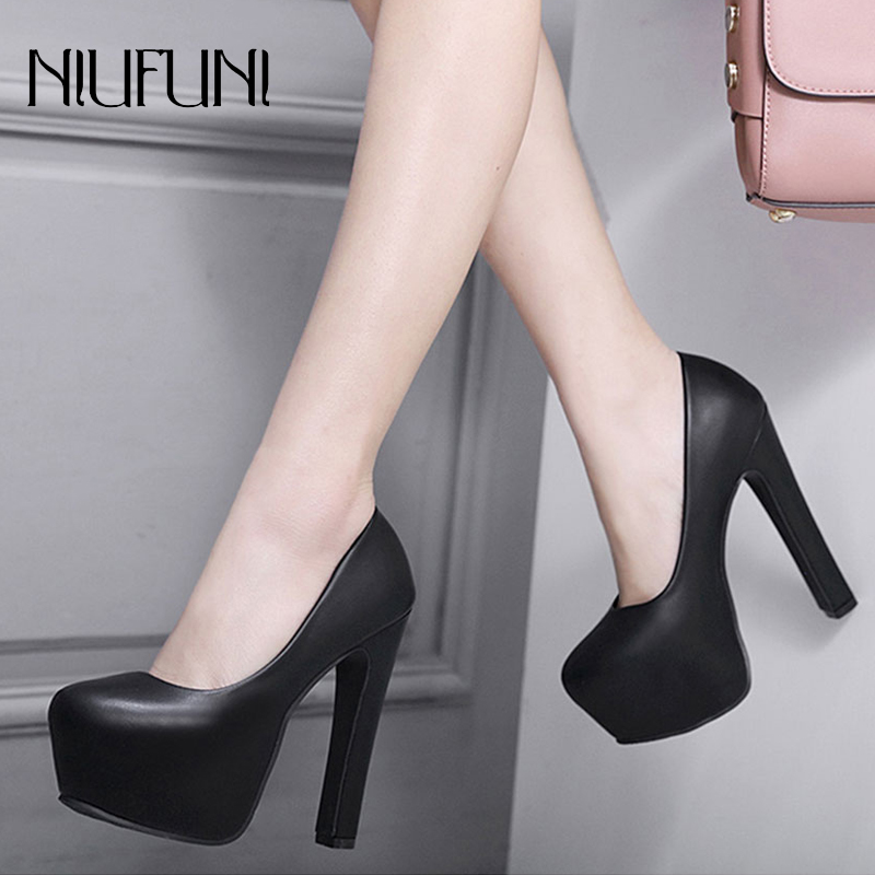 NIUFUNI Ladies High Heels Platform Pumps PU Black White Women Shoes Thick Work Dress