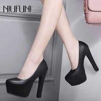 NIUFUNI Ladies High Heels Platform Pumps PU Black White Women Shoes Platform High Heels Shoes Thick Heels Work Pumps Dress Shoes