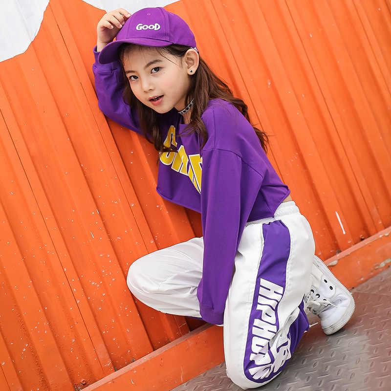 Sudadera recortada para chico pantalones para correr ropa de Hip Hop ropa de baile de Jazz disfraz para niñas niños baile de salón ropa de calle