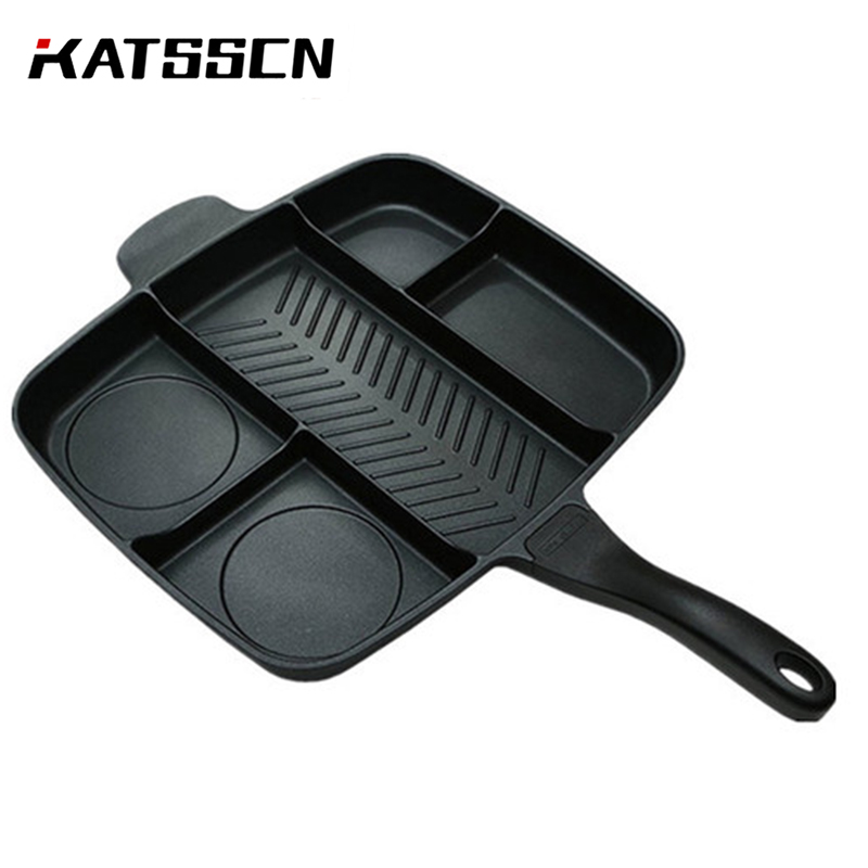 Multi-function 5 Holes Cooking Frying Grill Pan Aluminum Flat Bottomed Breakfast Eggs Steak Non-stick Square Cast Iron Pan