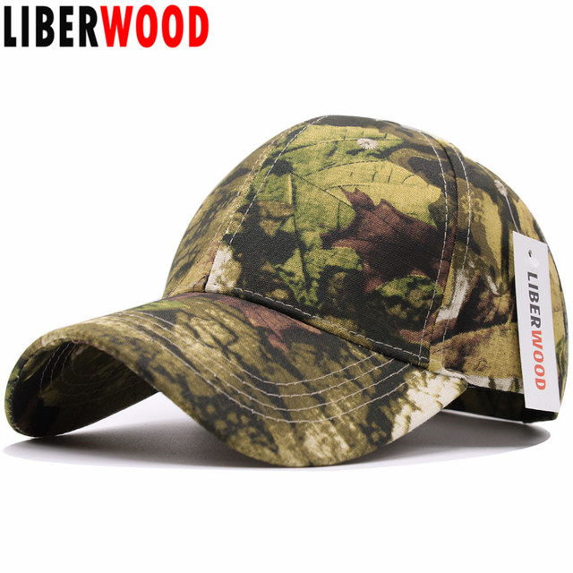 279c3745ad3 LIBERWOOD High Quality jungle man outdoor cap hunting real tree camouflage  Camo cap men women Leaves Baseball Cap casual dad hat