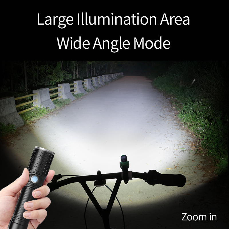 YAGE usb Zoombar lommelykt 10W Cree T6 + 12 * COB LED 18650 26650 Led - Bærbar belysning - Bilde 6