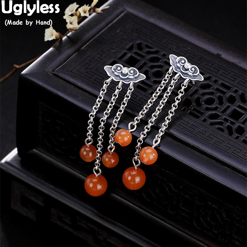Uglyless Thai Silver Ethnic Beads Tassel Earrings Women Natural Agate Balls Fine Jewelry Solid 925 Thai Silver Exotic Earrings
