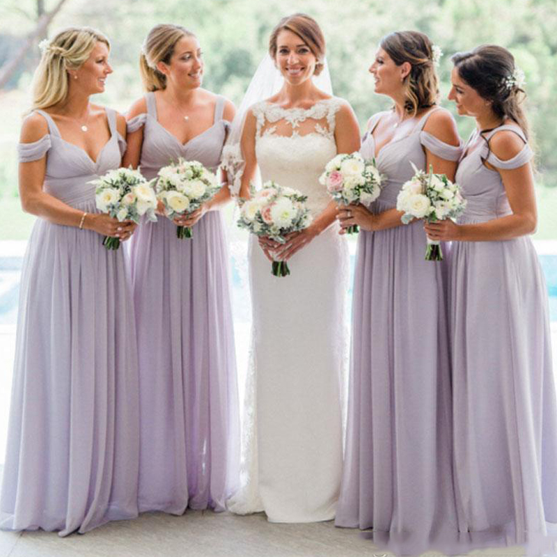 new Lavender Country Style Cheap   Bridesmaid     Dresses   Ruched Chiffon Floor Length Straps Off the Shoulder   Bridesmaids     Dress