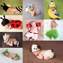 Newborn Baby Photography Props girl Boy Animal Pants Knit Hat Set Cute Baby Hand Made Crochet Costume Photo Shoot Clothes(China)