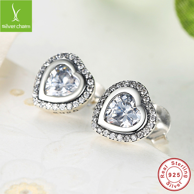 Original 925 Sterling Silver Sparkling Love Stud Earrings With Clear CZ For Women Compatible with Jewelry Gift