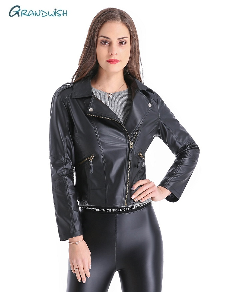Grandwish Women   Leather   Jacket Plus Size 4XL Short PU   Leather   Jacket Woman Female Moto Turn-down Collar New Spring,DA796