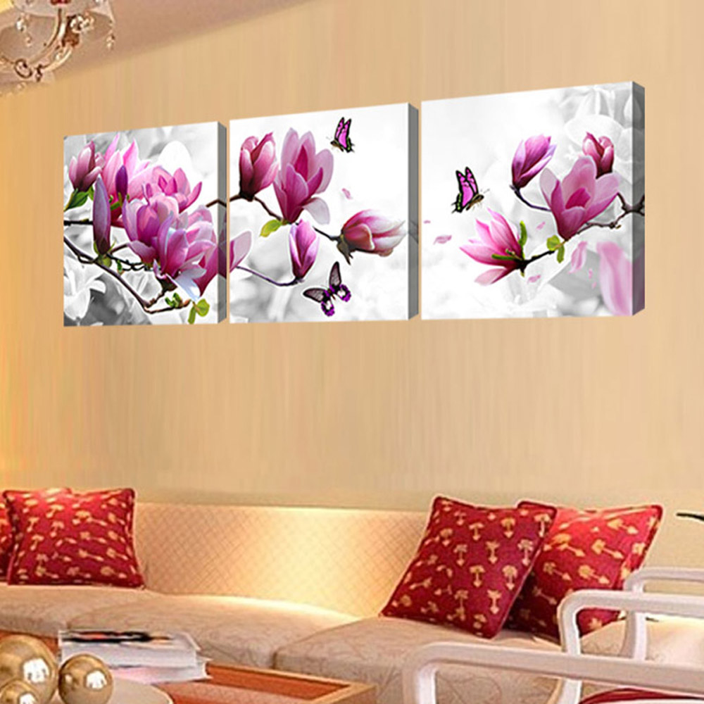 3 Pieces Pink flowers painting Modern Home Wall Decor Canvas Art ...