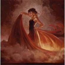 Famosa pintura da mulher Crescendo II (Laranja Saia) impressionista pintura a óleo sobre tela arte Presente Artesanal